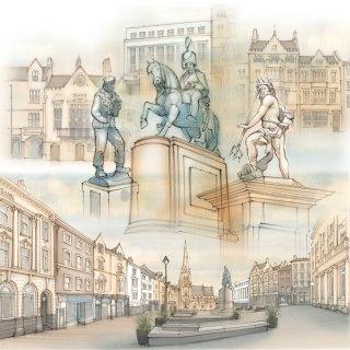 Durham, historical, statue, market place, Neptune, architecture,