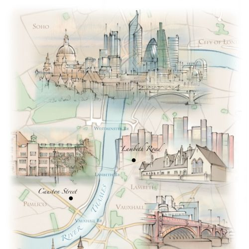 London skyline, map, Thames, Lambeth, Vauxhall Bridge