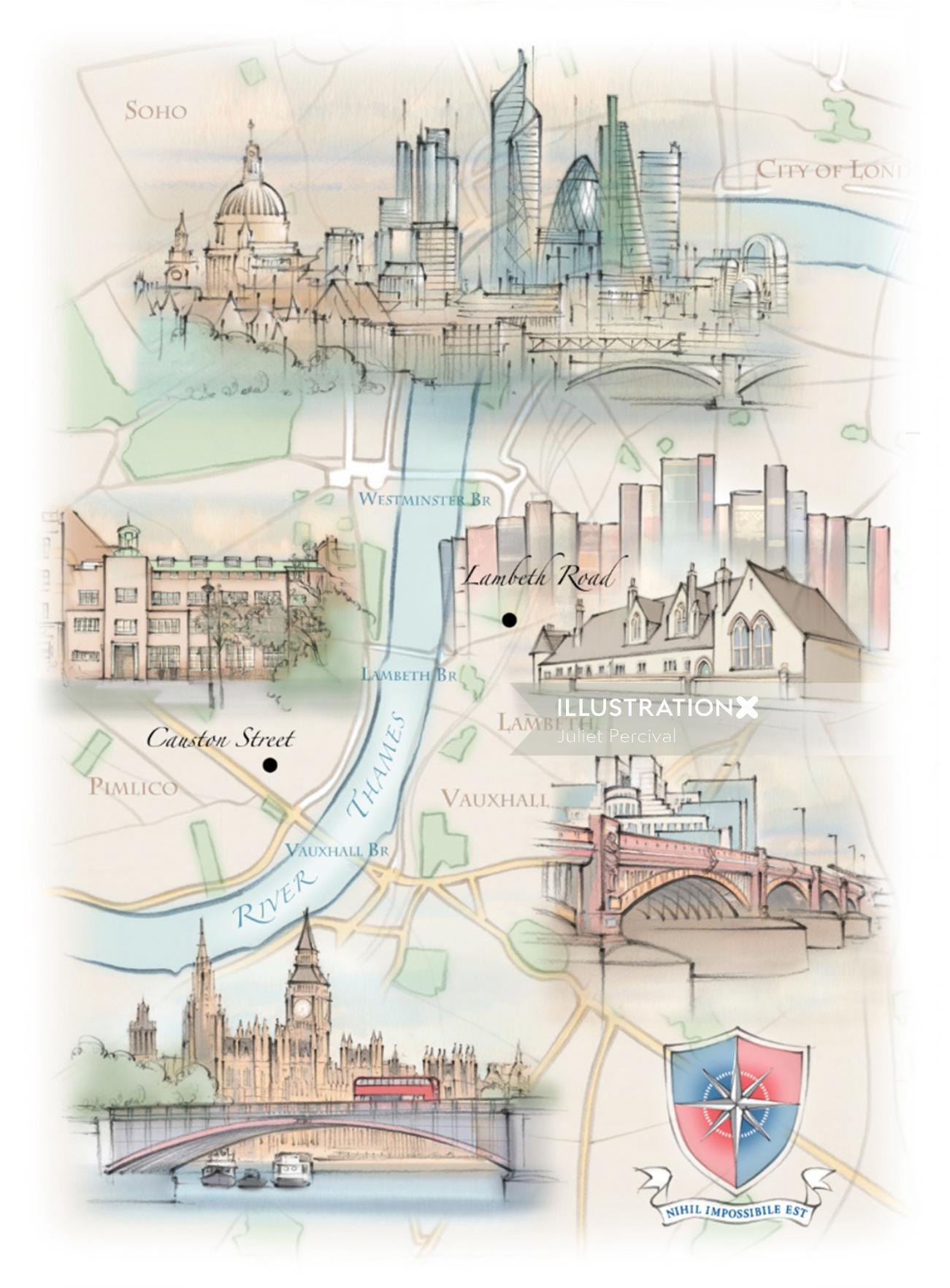 London skyline, map, Thames, Lambeth, Vauxhall Bridge