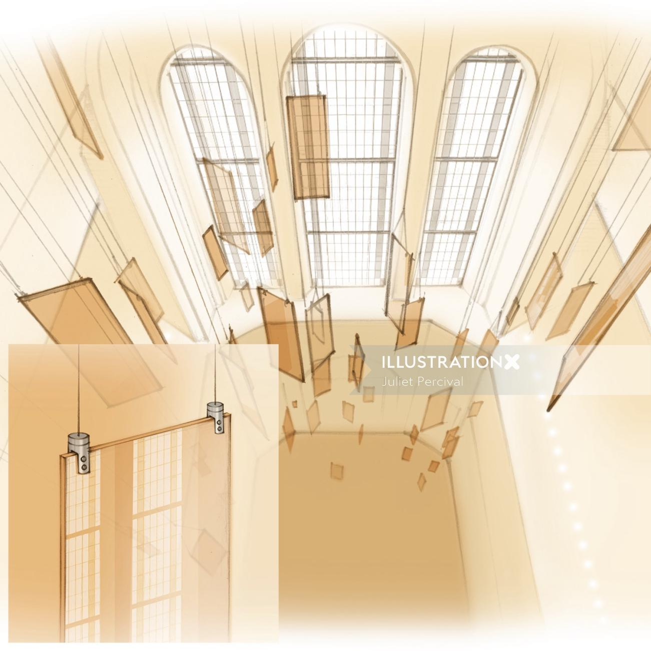 chandelier, perspex, lighting feature, hanging installation, interior design