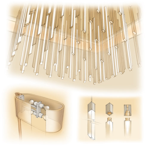 acrylic rod, lighting design, chandelier,