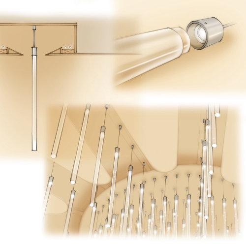 chandelier, lighting design, product illustration, marketing brochure