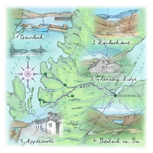 driving route, hand drawn, Scotland, Inverness, Highlands