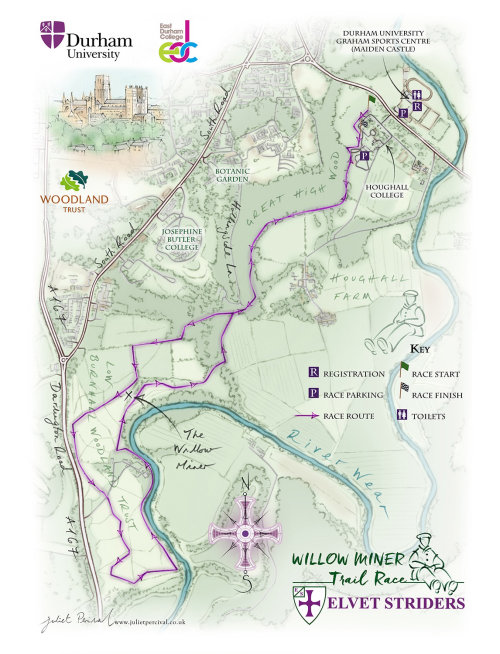 Map, race, Durham, Woodland Trust, Houghall College, River Wear