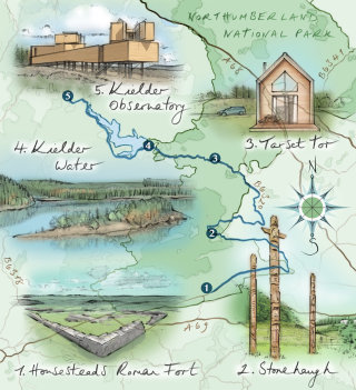 map, northumberland, Kielder, Roman fort, Stonehaugh, Tarset Tor, driving route, compass