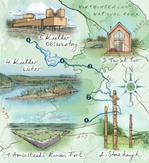 map, northumberland, Kielder, Roman fort, Stonehaugh, Tarset Tor, driving route, compass