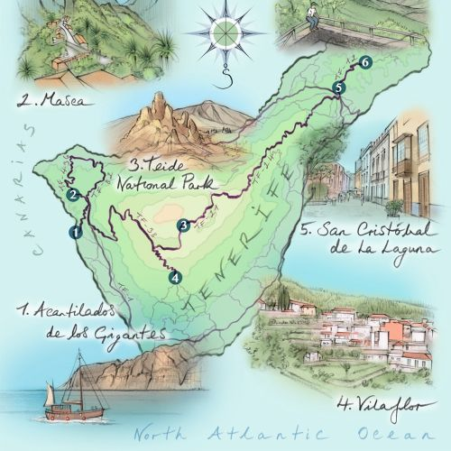Tenerife, map, driving route, Teide National Park, Masea