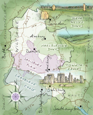 driving route, motorway, Wiltshire, Stonehenge, Avebury, Cranborne Chase