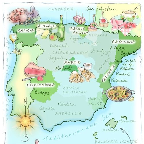 spain map, hand drawn, food, Extremadura, Catalonia, paella, tapas, wine