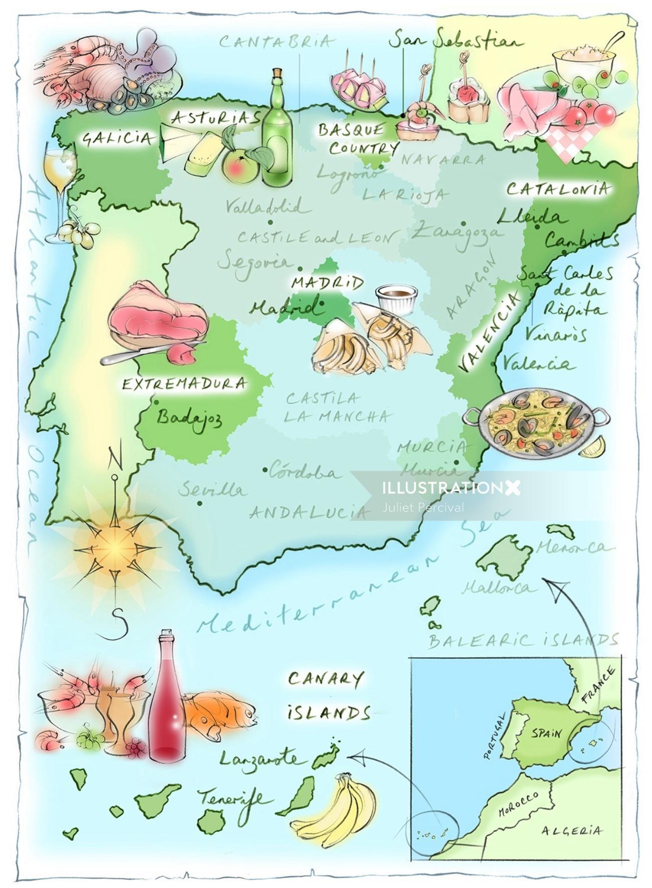 spain map, hand drawn, food, Extremadura, Catalonia, paella, tapas, wine