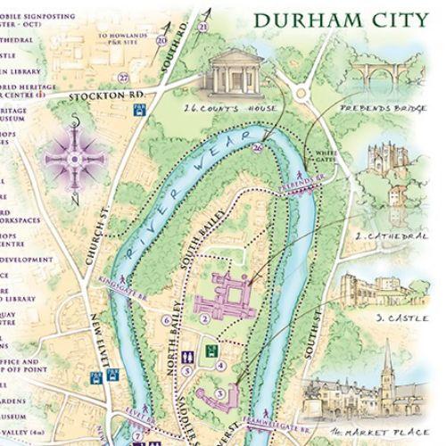 durham, River Wear, Durham Cathedral, Market Place, tourist map, tour leaflet