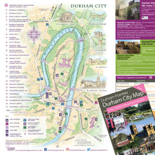 durham, River Wear, Durham Cathedral, Market Place, tourist map, tour leaflet