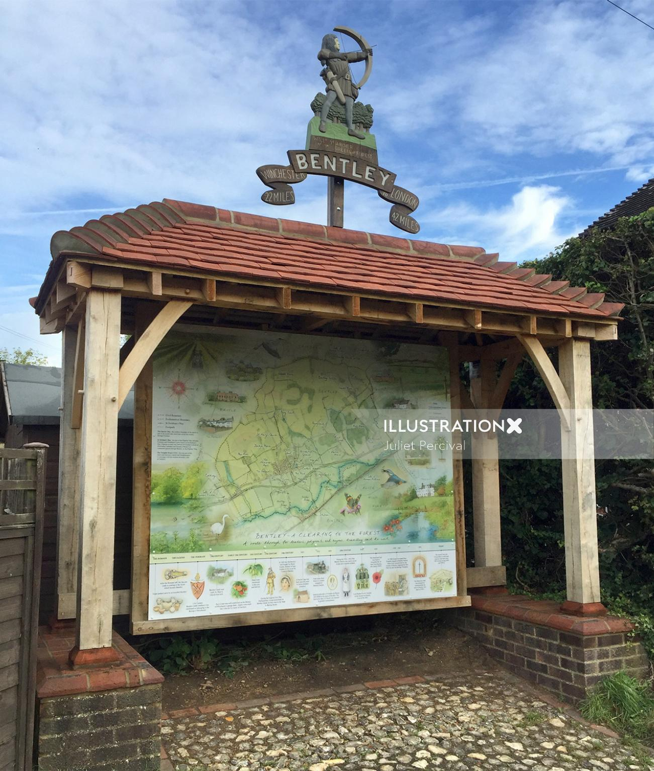 giant map, historic time line, farming, wildlife sketches, traditional