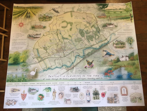 outdoor panel, heritage interpretation, giant map, historic time line, farming, wildlife sketches, t