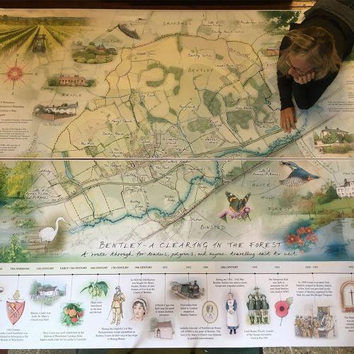 outdoor panel, heritage interpretation, giant map, historic time line, farming, wildlife sketches, t