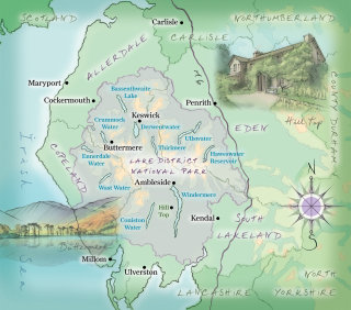 Buttermere, hand-drawn, traditional, compass, lakes, Keswick, Ambleside. mountains, national park