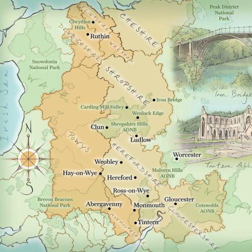 iIntern Abbey, Snowdonia, Wales, England, hand drawn, cartography