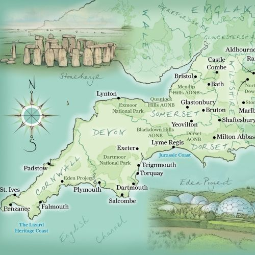 Cornwall, Devon, Stonehenge, Eden Project, Wiltshire, hand drawn, cartography,  coastline, compass