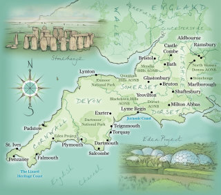 Cornwall, Devon, Stonehenge, Eden Project, Wiltshire, hand drawn, cartography,  coastline, compass