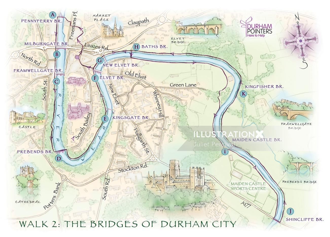 Durham cathedral, market place, river wear, Elvet, cartography, traditional, hand drawn, tourist map