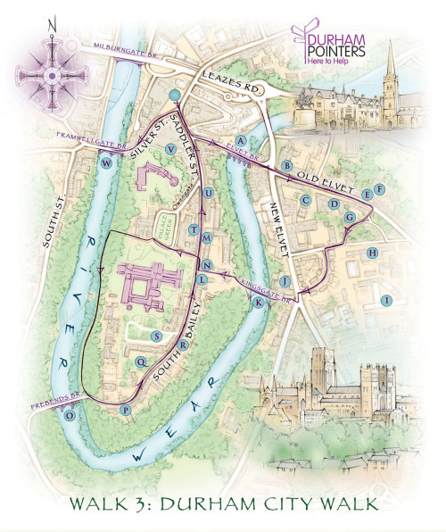 Durham cathedral, market place, river wear, cartography, traditional, hand drawn, tourist map, recre