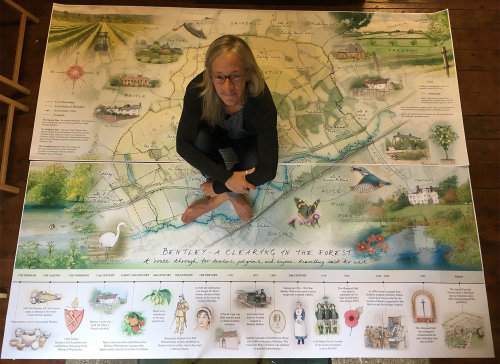 outdoor panel, heritage interpretation, giant map, historic time line, farming, wildlife sketches t