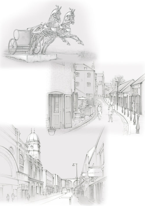 Durham, history, pencil, traditional, Fowlers Yard, North Road, Oriental Museum