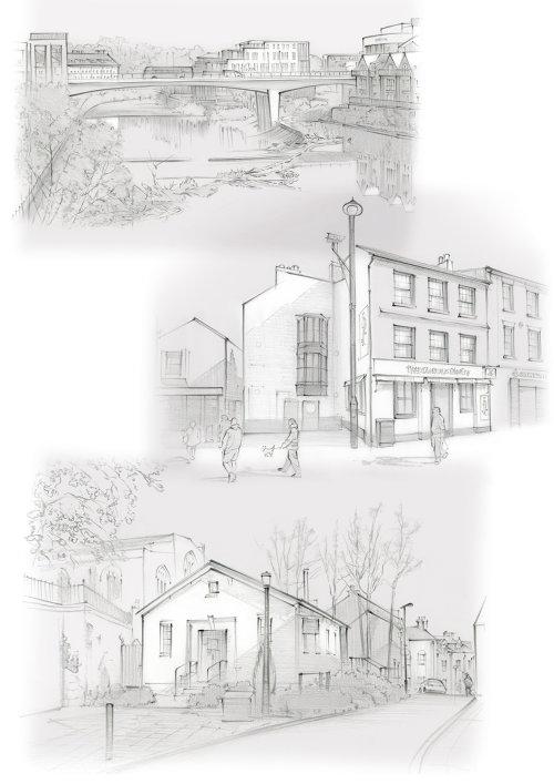 history, pencil sketch, traditional, Framwelgate Bridge, River Wear