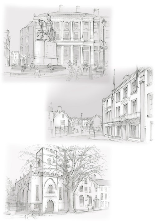 market place, Royal County Hotel, church, museum, Lord Londonderry