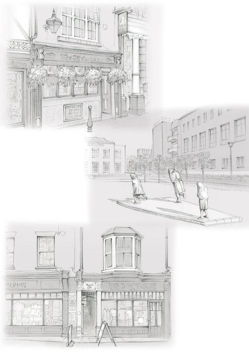 Shakespeare Tavern, Fenwick Lawson, The Scream, pencil sketches, traditional