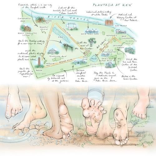 map, kew gardens, plant display, barefoot, walking, feet, toes, pebbles
