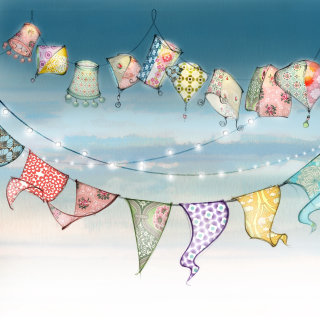 wedding, celebration, bunting, fairy lights, paper lanterns