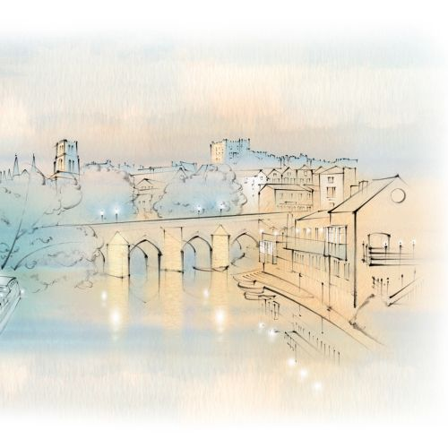 Durham, boathouse, Elvet Bridge, River Wear, Castle, Cathedral