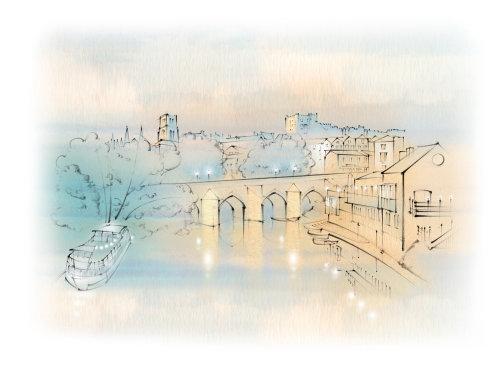 Durham, boathouse, Elvet Bridge, River Wear, Castle, Cathedral