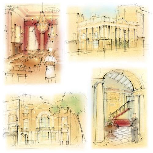 gentlemen's club, london, restaurant, dining room, chef, butler, pillar, architecture