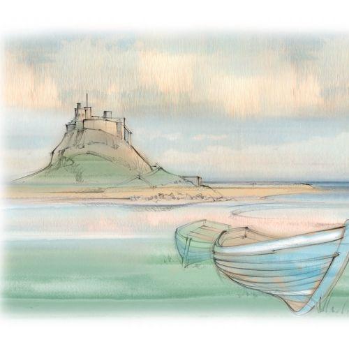 Lindisfarne castle, Holy Island, coastal, rowing boat