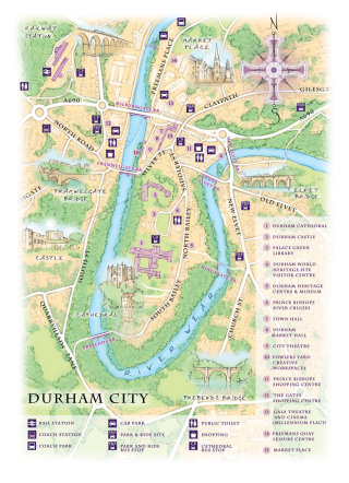 map, traditional, hand drawn, compass, Durham, cathedral, castle, River Wear, Framwelgate Bridge