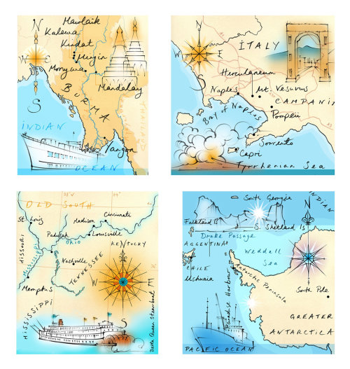 map, traditional, hand drawn, compass, Burma, Italy, Antarctica, Mississippi