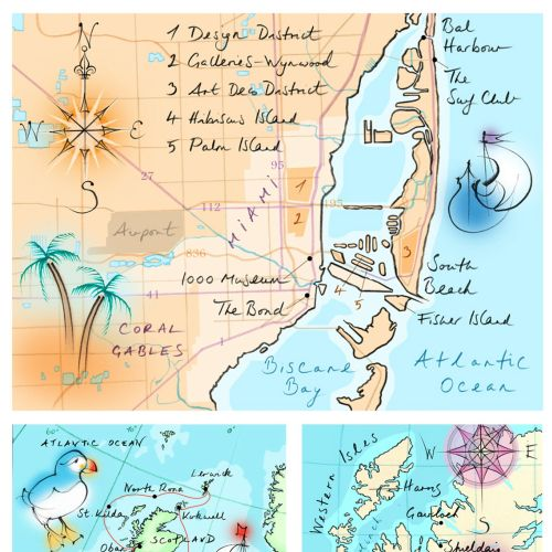 hand drawn, Miami, Scotland, England, Biscane Bay, puffin, compass