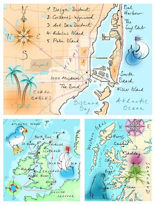 hand drawn, Miami, Scotland, England, Biscane Bay, puffin, compass