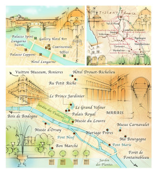 map, traditional, hand drawn, Florence, Tuscany, Paris