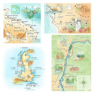 hand drawn, England, Poitou-Charentes, Winchester, River Itchen, Italy