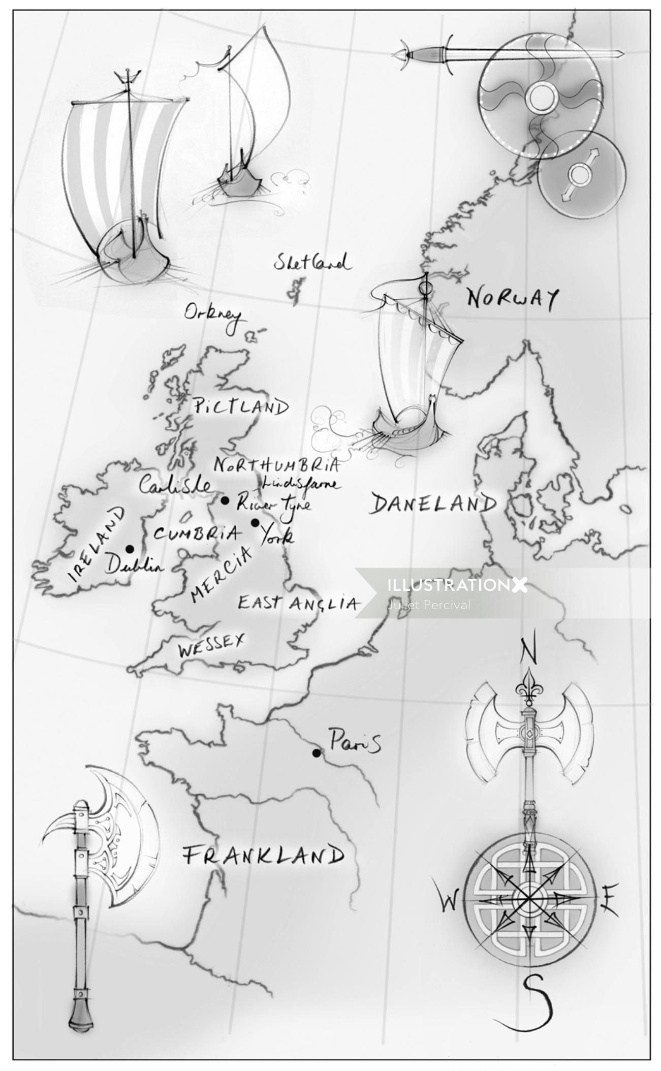 map, England, United Kingdom, viking, traditional, pencil, hand drawn
