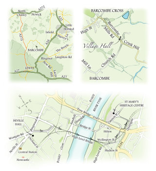 map, Barcombe, Newcastle, wedding stationary, traditional, hand drawn