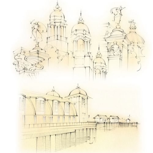 cardiff, law courts, city hall, dome, cupola, penarth, pier, travel sketch, pencil