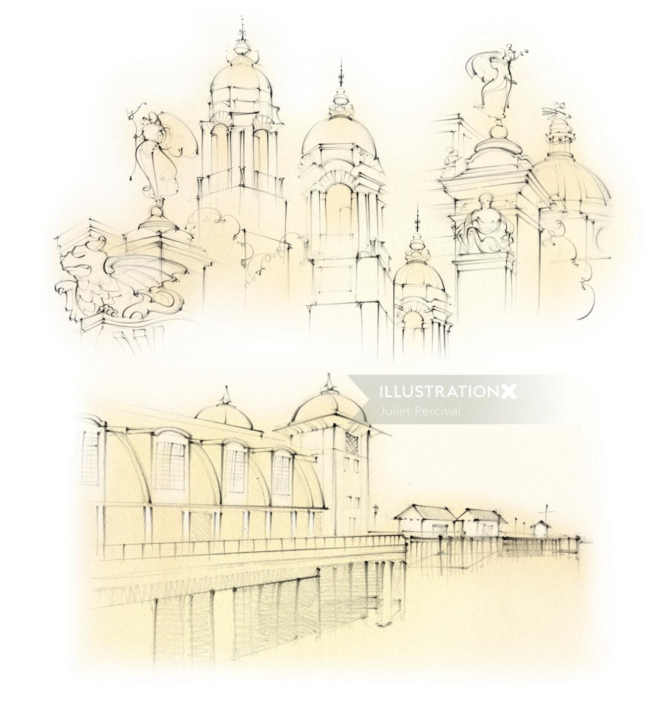 cardiff, law courts, city hall, dome, cupola, penarth, pier, travel sketch, pencil