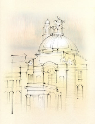 Architectural sketch, Cardiff Law Courts, building, domed roof,  hand drawn