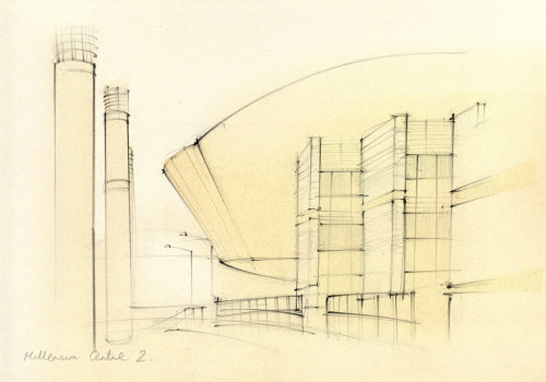 wales, cardiff, travel sketch, architecture, modern, contemporary, Millennium Centre, urban, pencil