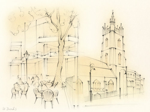 wales, Cardiff, St David's, architecture, church, street, cafe, pencil sketch, hand drawn
