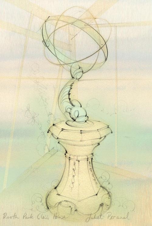 sun dial, statue, Penarth, glasshouse, sculpture, pencil sketch, hand drawn